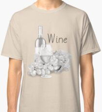 Pencil Wine Bottle And Glass Classic T-Shirt