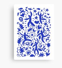 Cuban Salsa - blue on white - contemporary dance pattern by Cecca Designs Canvas Print