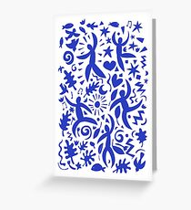 Cuban Salsa - blue on white - contemporary dance pattern by Cecca Designs Greeting Card