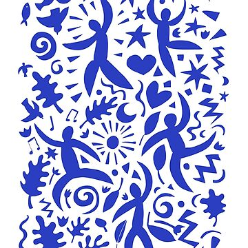 Cuban Salsa - blue on white - contemporary dance pattern by Cecca Designs by Cecca-Designs