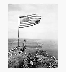 American Flag Flying Over Mount Suribachi - WWII Photographic Print