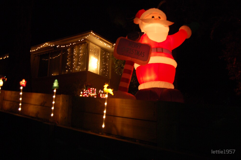 Chrstmas Lights & Santa  by lettie1957