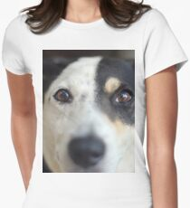 Peering Pooch Women's Fitted T-Shirt