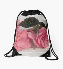 Pink Begonias And Their Leaves Drawstring Bag