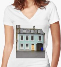Blue House, Ramelton, Donegal, Ireland Women's Fitted V-Neck T-Shirt