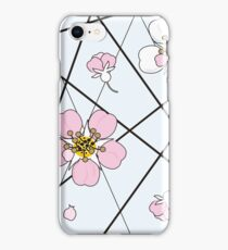 Cherry flowers in white and pink on black strait lines iPhone Case/Skin