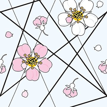 Cherry flowers in white and pink on black strait lines by Nata-V