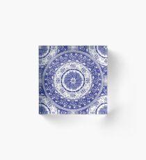 Blue and White Mandala  Acrylic Block