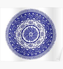 Blue and White Mandala  Poster