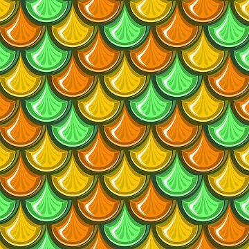 Orange And Green Mermaid Scales by genderfvcked