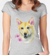 Shiba Inu with Sakura Watercolor Painting Women's Fitted Scoop T-Shirt
