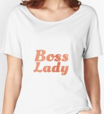 Boss Lady in Cursive Red Rock Women's Relaxed Fit T-Shirt