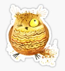 Cute winking owl Sticker