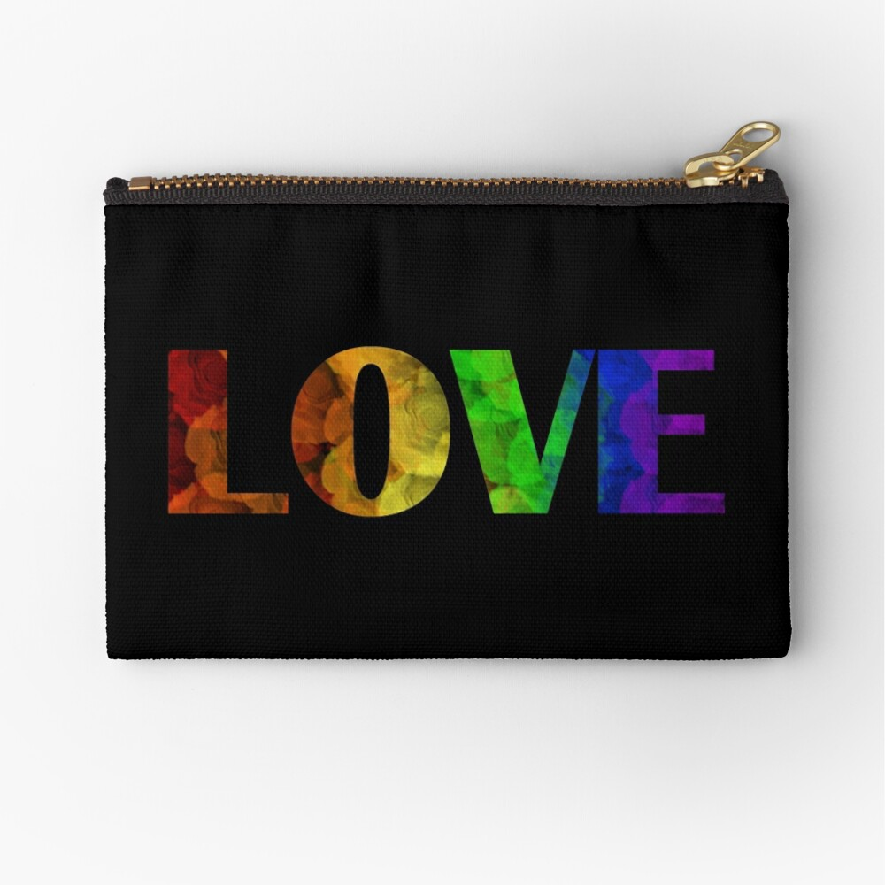 Rainbow Love with Roses Zipper Pouch