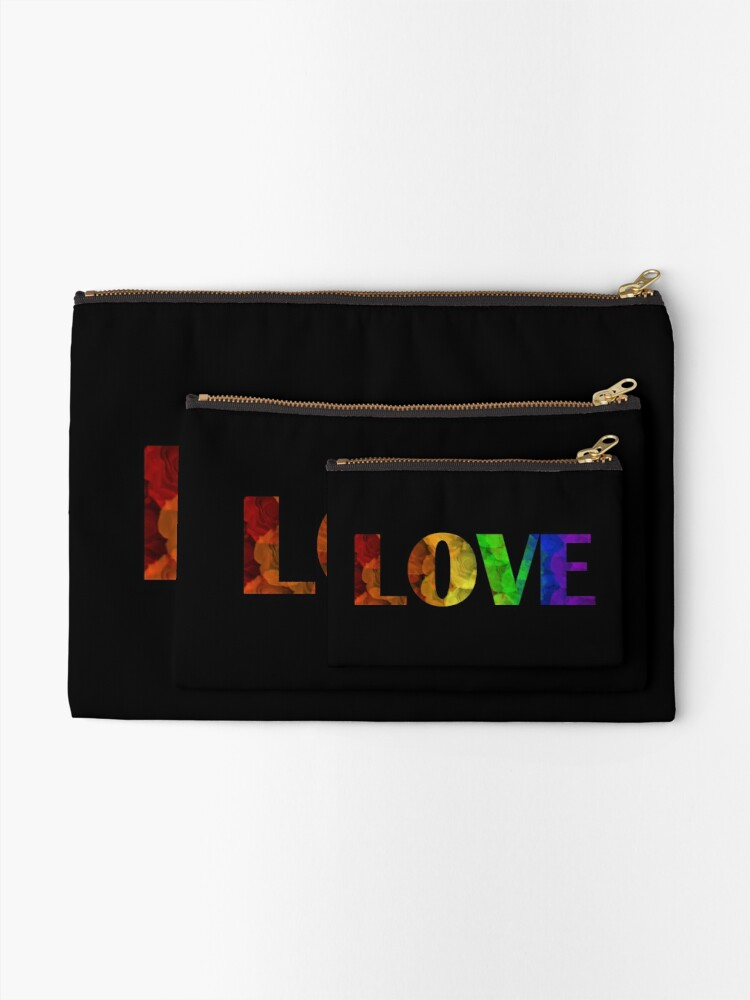 Alternate view of Rainbow Love with Roses Zipper Pouch