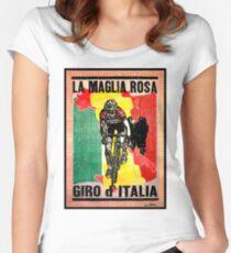 GIRO d ITALIA: Vintage La Maglia Rosa Print Women's Fitted Scoop T-Shirt