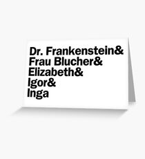 Young Frankenstein Characters | Black Greeting Card