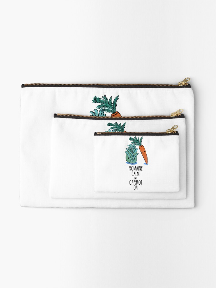 Alternate view of Romaine Calm and Carrot On - Food Pun Zipper Pouch