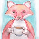Fox Drinking Coffee by dreampigment