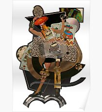 Woman with playing cards - surreal collage Poster
