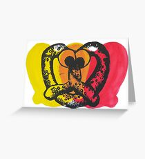 Yellow & Red Googly Eyed Pretzel Greeting Card