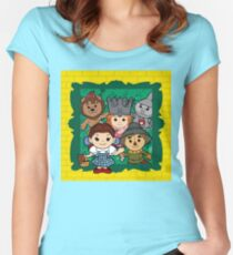 """""""Wizard of Oz"""" Kawaii, Yellow, Brick, Road, Emerald, Green, Dorothy, Ruby, Slippers, Toto, Cowardly Lion, Scarecrow, Tin Man, Basket, Purse, Gingham, Blue, Splatter, Paint  Women's Fitted Scoop T-Shirt"""