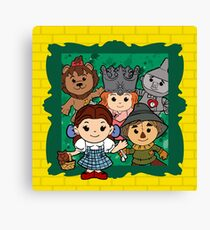 """""""Wizard of Oz"""" Kawaii, Yellow, Brick, Road, Emerald, Green, Dorothy, Ruby, Slippers, Toto, Cowardly Lion, Scarecrow, Tin Man, Basket, Purse, Gingham, Blue, Splatter, Paint  Canvas Print"""