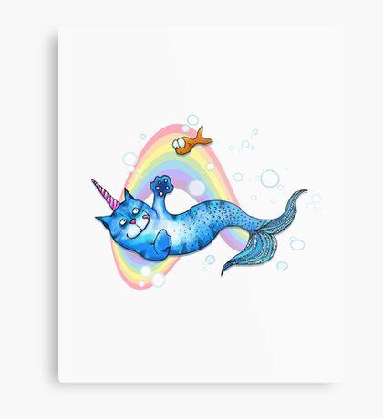 UniCatMaid in Rainbow Bubbles Metal Print