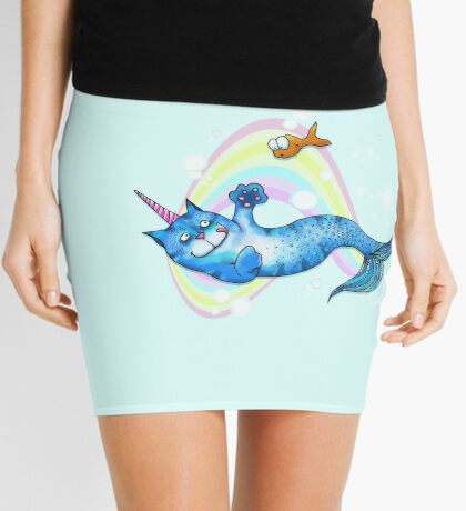 UniCatMaid in Rainbow Bubbles Mini Skirt