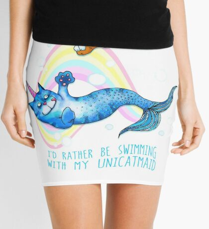 I'd Rather Be Swimming with My Unicatmaid Mini Skirt
