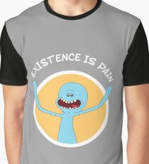 Mr. Meeseeks Existence Is Pain (White Text) Graphic T-Shirt