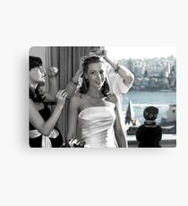 Fussing over the bride... Canvas Print
