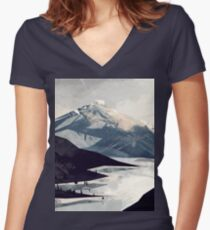 Calming Mountain Women's Fitted V-Neck T-Shirt