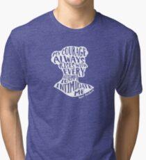 My Courage Rises Pride and Prejudice Jane Austen Quote Design Tri-blend T-Shirt