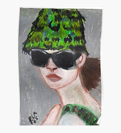 Woman Wearing Summer Hat(& Shades) Poster