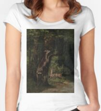 Gustave Courbet - Deer In The Forest 1868 Women's Fitted Scoop T-Shirt