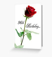 96th Birthday Red Rose Greeting Card