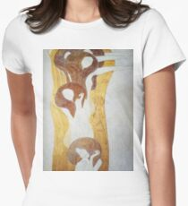 Gustav Klimt - The Beethoven Frieze The Longing For Happiness Finds Repose In Poetry Right Wall Womens Fitted T-Shirt