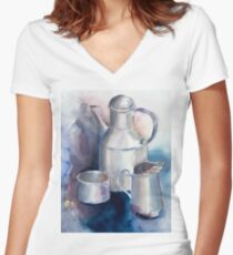 Still life with Tea Cup Women's Fitted V-Neck T-Shirt
