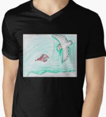 Female Snowy Chasing Young Bald Eagle Mens V-Neck T-Shirt
