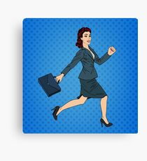 Business Woman. Happy Woman. Woman with Suitcase. Pop Art Banner. Successful Woman Canvas Print