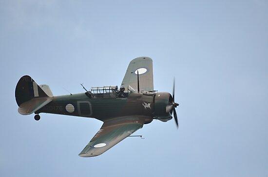 Wirraway Flypast @ Catalina Festival, Rathmines, Australia 2012 by muz2142