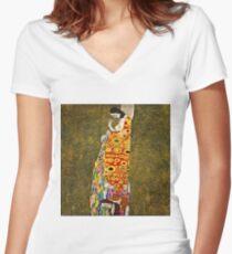 Gustav Klimt - Hope, Ii 1907 - 1908 Women's Fitted V-Neck T-Shirt