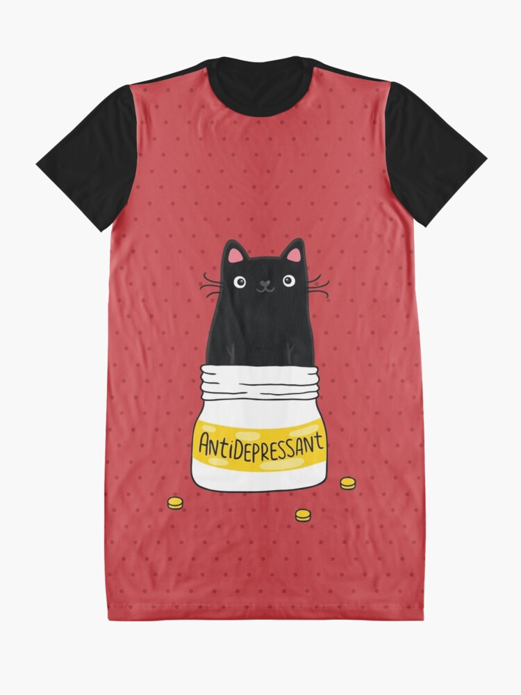 Alternate view of FUR ANTIDEPRESSANT . Cute black cat illustration. A gift for a pet lover. Graphic T-Shirt Dress