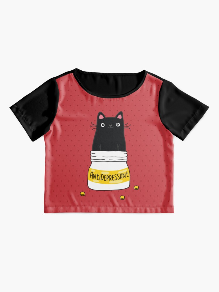 Alternate view of FUR ANTIDEPRESSANT . Cute black cat illustration. A gift for a pet lover. Chiffon Top
