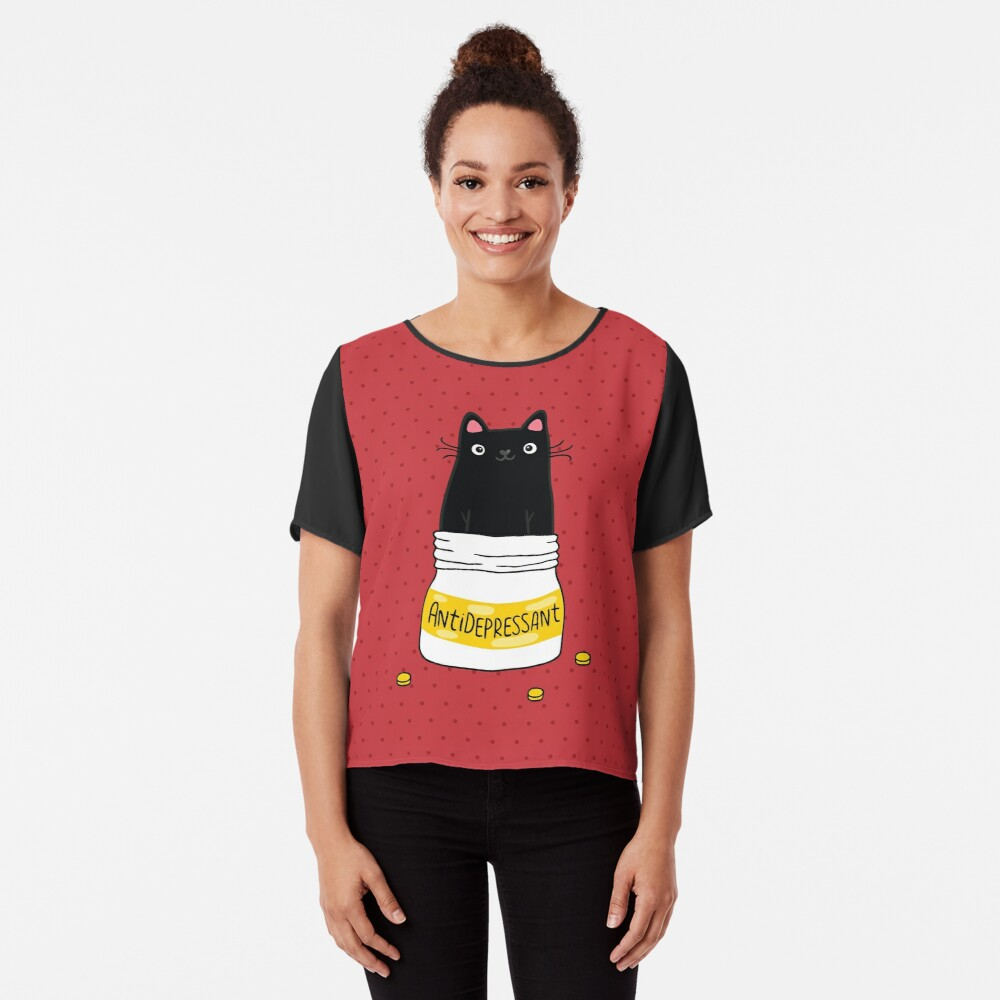 FUR ANTIDEPRESSANT . Cute black cat illustration. A gift for a pet lover. Chiffon Top