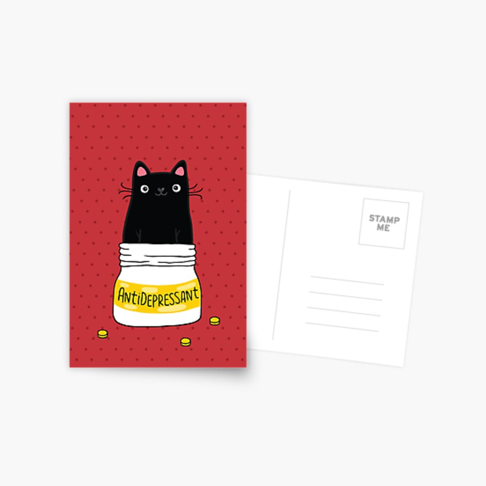 FUR ANTIDEPRESSANT . Cute black cat illustration. A gift for a pet lover. Postcard