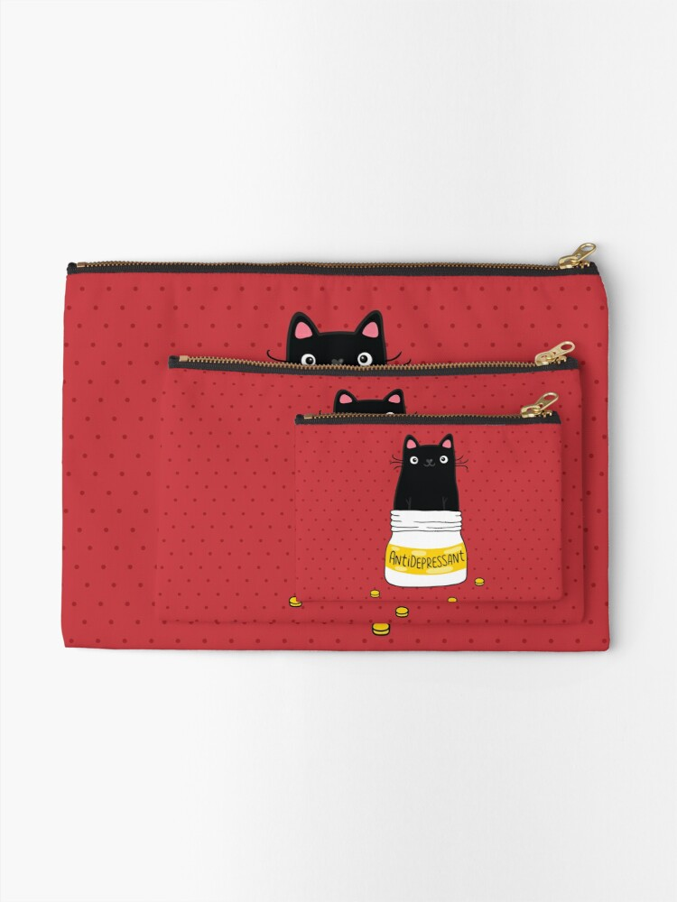 Alternate view of FUR ANTIDEPRESSANT . Cute black cat illustration. A gift for a pet lover. Zipper Pouch