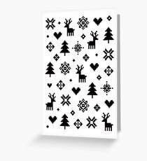 Pixel Pattern - Winter Forest - Black and White Greeting Card