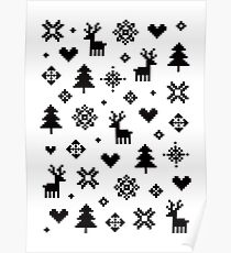 Pixel Pattern - Winter Forest - Black and White Poster